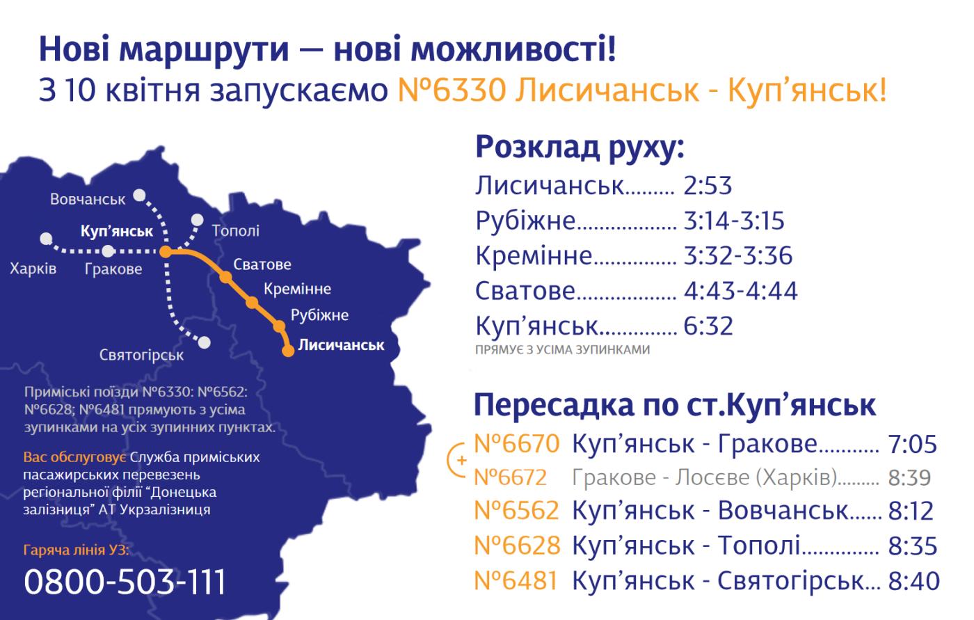 """""""Укрзализныця"""" запускает новый поезд """"Лисичанск-Купянск"""", фото-1"""